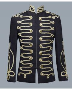 Men's Steampunk Stand Collar Zipper Punk Gothic Military Drummer Blazer Jacket
