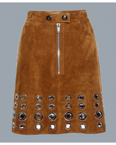 Beautiful Brown Leather Utility Skirt For Women