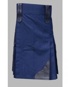 Blue utility kilt with black leather patches