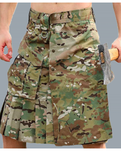 Men's Camouflage Scottish Outdoor Tactical Utility Kilt with Cargo Pockets